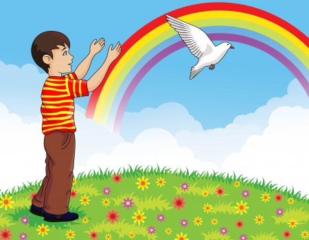 praise and worship: illustration of Little boy releasing a white pigeon