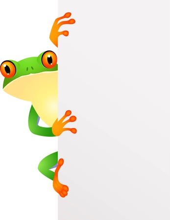 illustration of frog with blank sing