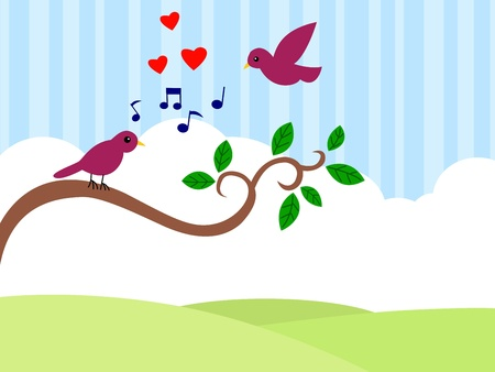 illustration of Beautiful birds in love Vector
