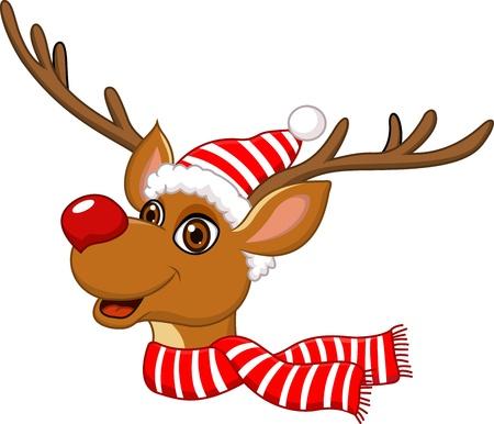 renna: illustrazione di renna carino Natale Vettoriali
