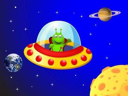 platillo volador: ilustraci�n de Alien en la nave espacial