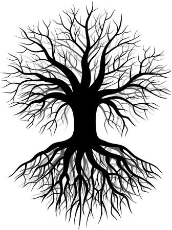 lone tree: illustration of Tree silhouette