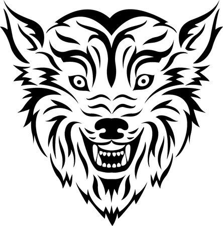 illustration of Wolf tribal tattoo Vector