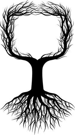 raices de plantas: ilustraci�n de la silueta del �rbol con el espacio Vectores