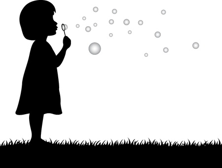 soap bubbles: illustration of little girl blowing soap bubbles