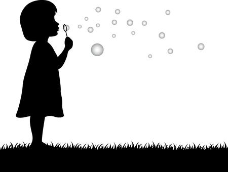 burbujas de jabon: ilustraci�n de ni�a soplando pompas de jab�n Vectores