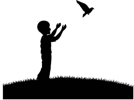 releasing: illustration of Little boy releasing a white pigeon