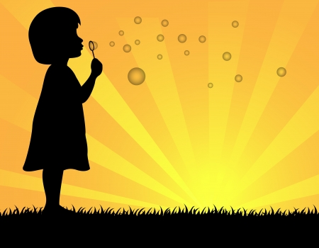innocent girl: illustration of little girl blowing soap bubbles