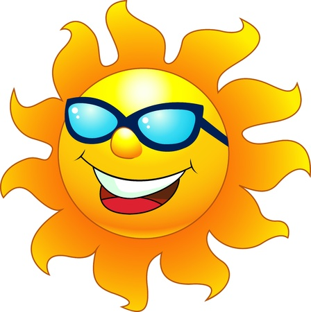 illustration of Sun cartoon character  Vector