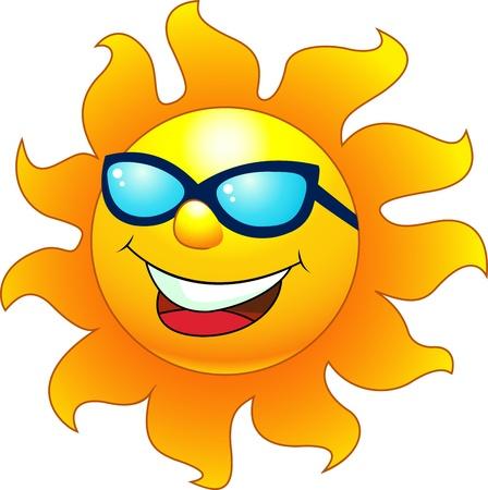sunbathing: illustration of Sun cartoon character