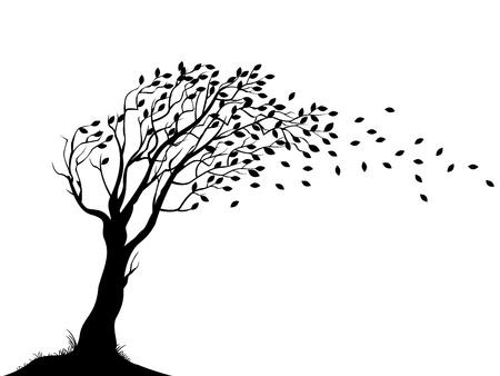 viento soplando: Ilustraci�n de la silueta del �rbol de oto�o
