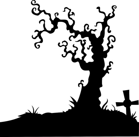 inevitability: illustration of Grave with dead tree on white