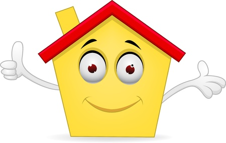hand showing thumbs up: illustration of Cartoon house