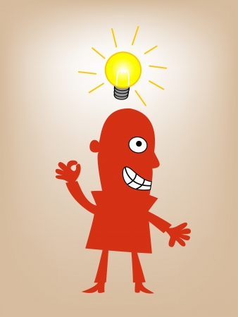 illustratration of businessman standing with lighting idea bulb  Vector