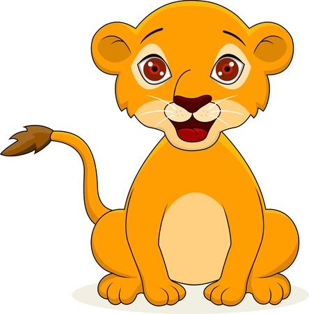 illustration de lion de bande dessinée bébé