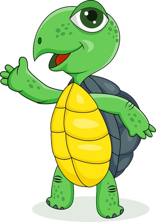 illustration of turtle waving hand Vector