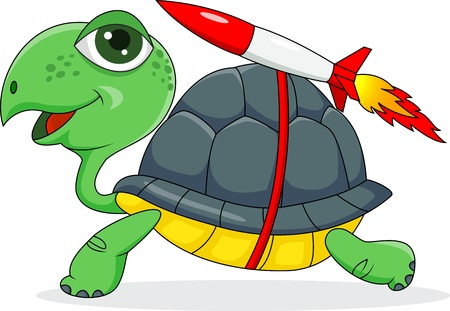slow: illustration of Turtle with a rocket  Illustration