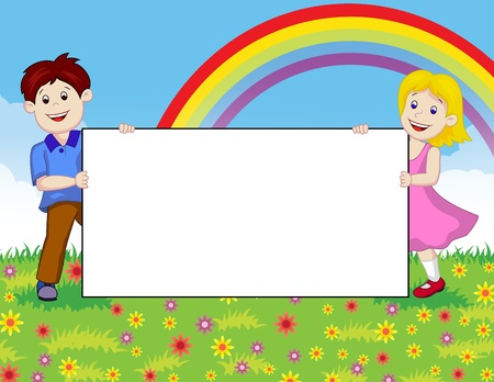 from behind: illustration of Children with blank sign Illustration