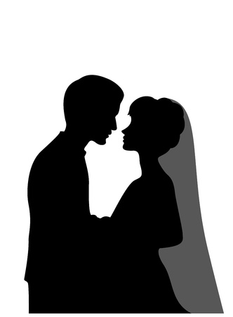 illustratration of a groom and a bride   Vector