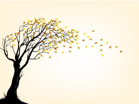foukání: ilustrace Podzimní strom