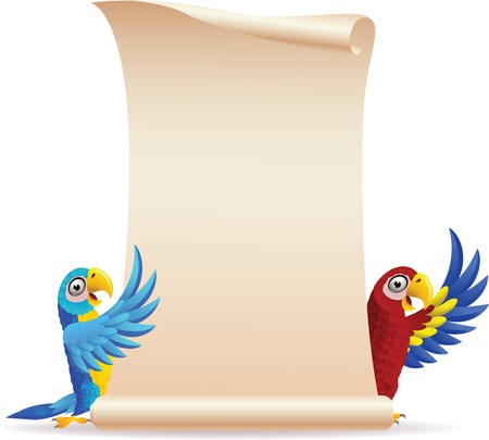 guacamaya caricatura: ilustraci�n de aves Macaw con papel pergamino