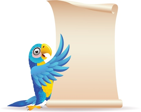 illustration of Macaw bird with scroll paper Vector