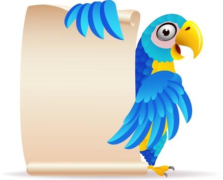 parrot: illustratie van Macaw vogel met scroll papier