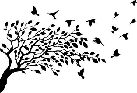 bomen zwart wit: illustratie van Boom en vogel silhouet Stock Illustratie