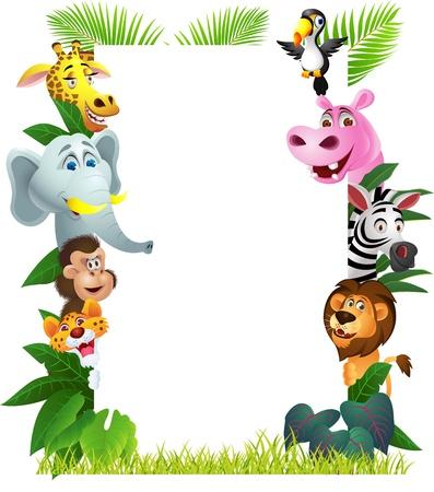 Ilustración de dibujos animados de animales con la muestra en blanco Ilustración de vector