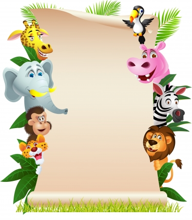 jungle animals: illustration of Animal cartoon with blank paper