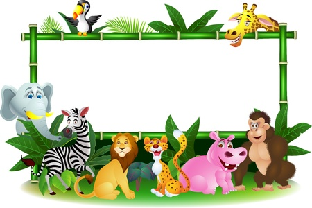 Illustration Of Animal Cartoon with blank sign Vector