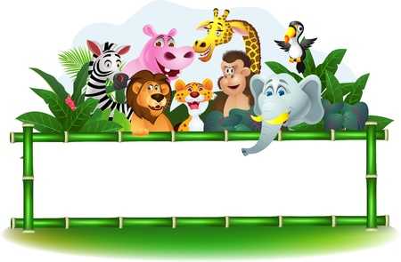safari: Illustration Of Animal Cartoon with blank sign Illustration