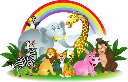 cartoon rainbow: Ilustraci�n de dibujos animados de animales Vectores
