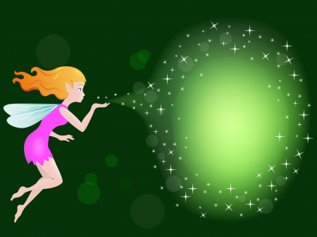 Illustration Of Beautiful love fairy sanding blowing magic spell Vector