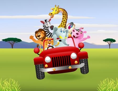 Illustration of Animal Cartoon im roten Auto Standard-Bild - 14320781