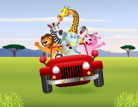 Illustration Of Animal Cartoon in red car Ilustração