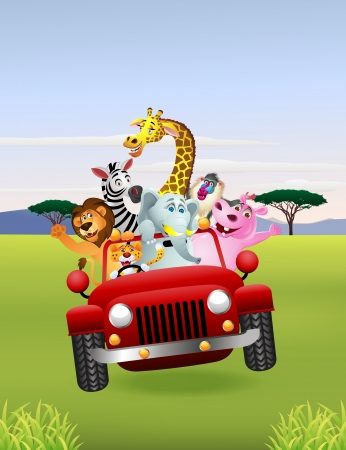 Illustration Of Animal Cartoon in red car Illustration