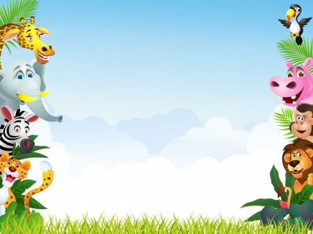 selva: Ilustración de dibujos animados de animales Vectores