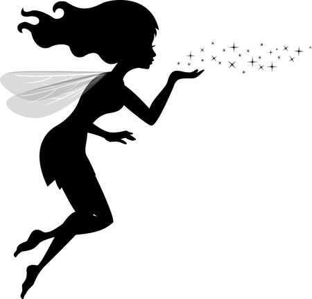 cartoon fairy: Illustration Of Beautiful love fairy sanding blowing magic spell