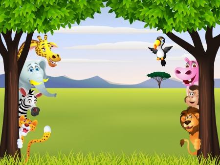 foresta: Illustrazione Di divertente cartone animato animale selvatico africano Vettoriali