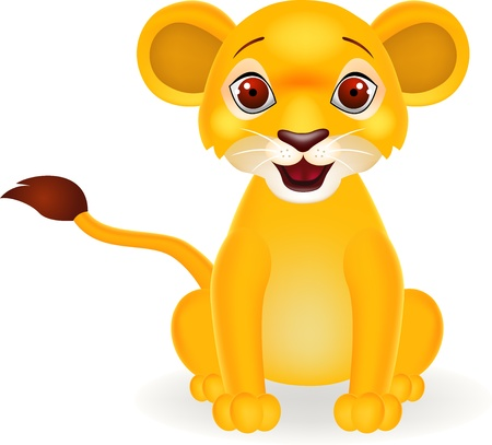 Funny baby lion cartoon Vector