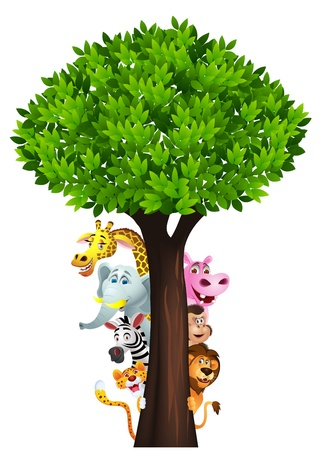 Funny safari animal cartoon Stock Vector - 14662192