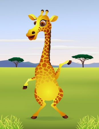 Funny cartoon giraffe standing Vector