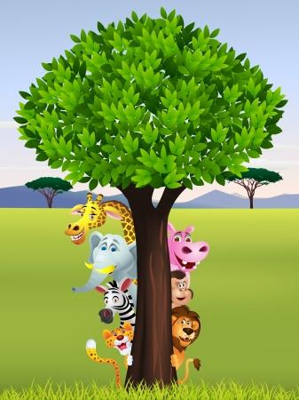 Divertido safari animal cartoon