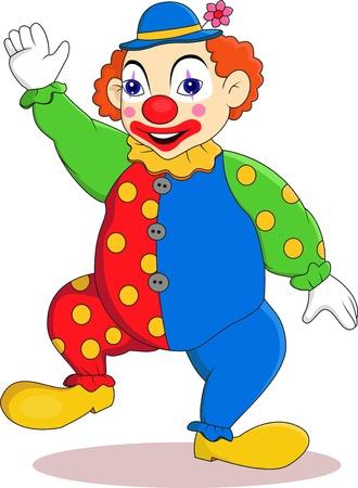 Funny clown cartoon Vettoriali