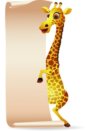 Giraffe with blank scroll paper Vector