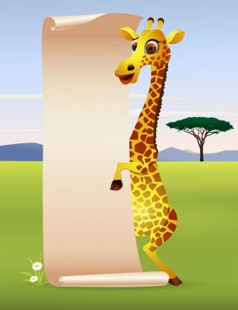 hoog gras: Giraffe cartoon met blanco papier scroll