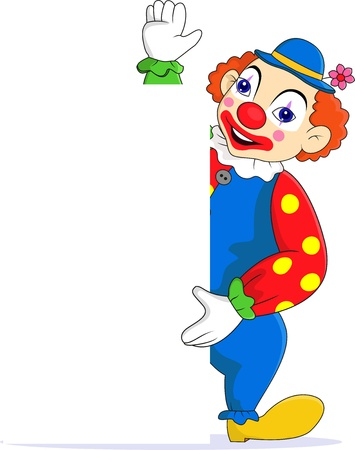 circus clown: Funny clown with blank sign