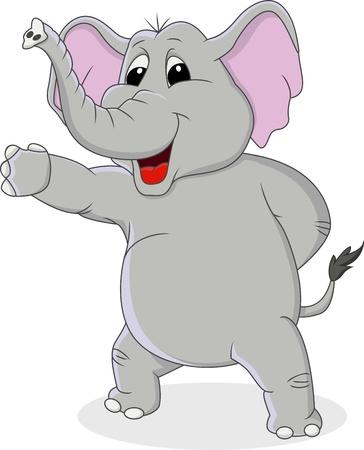 손을 흔들며 함께 코끼리 만화