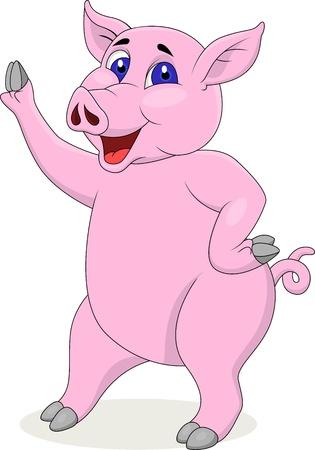chubby cartoon: Pig cartoon waving hand Illustration
